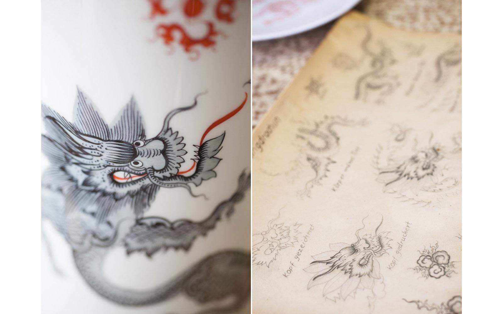 Ming Drache auf einer Vase, Skizzen der Porzellanmaler
