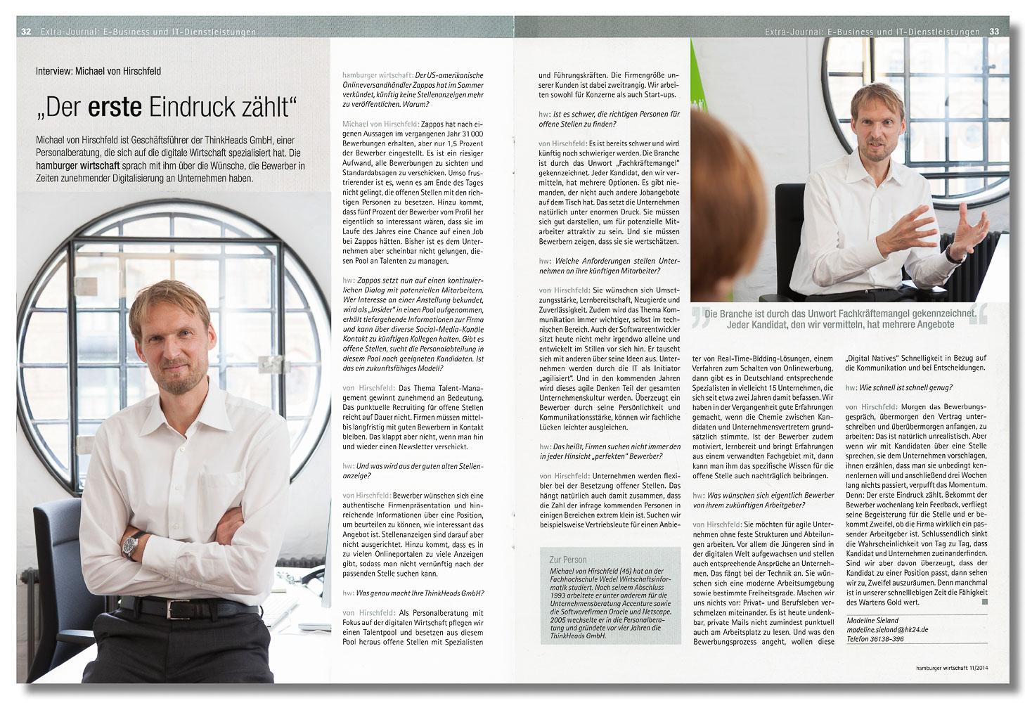 Michael von Hirschfeld, ThinkHeads GmbH, Hamburger Wirtschaft