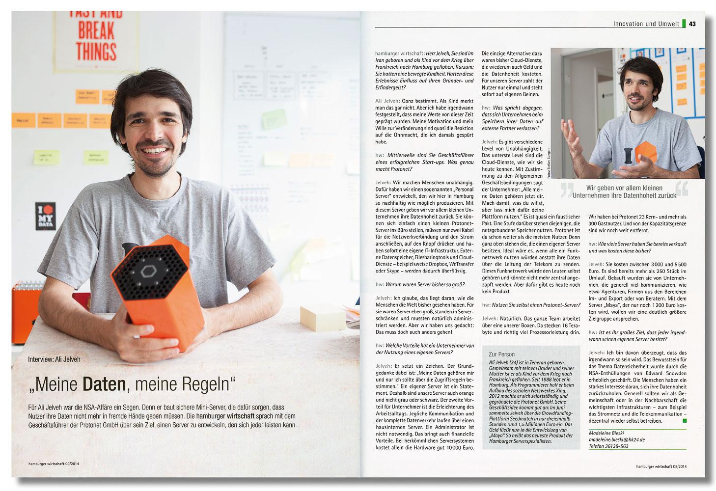Ali Jelveh, Protonet, Hamburger Wirtschaft